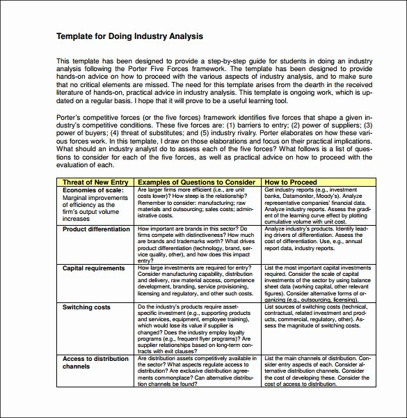 Industry Analysis Sample Beautiful 12 Industry Analysis Templates Doc Pdf