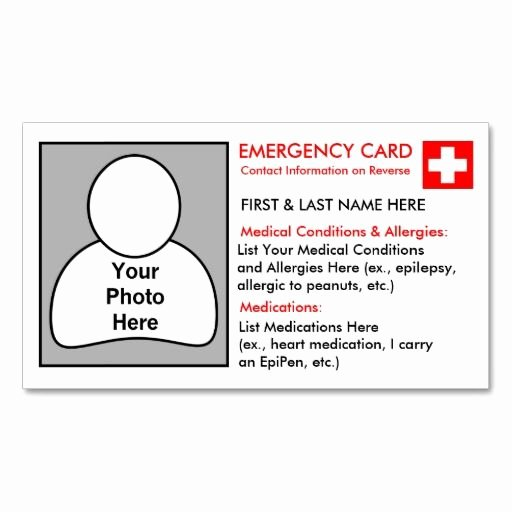 Info Card Template Beautiful Personalised Medical Information Cards
