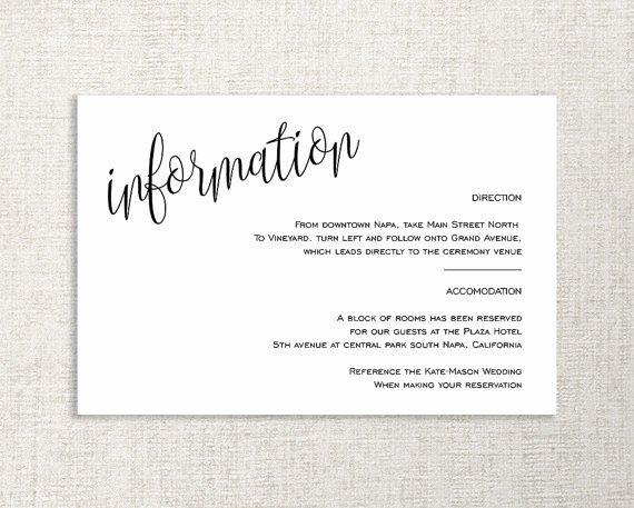 Info Card Template Elegant Wedding Enclosure Card Details Card Information Card