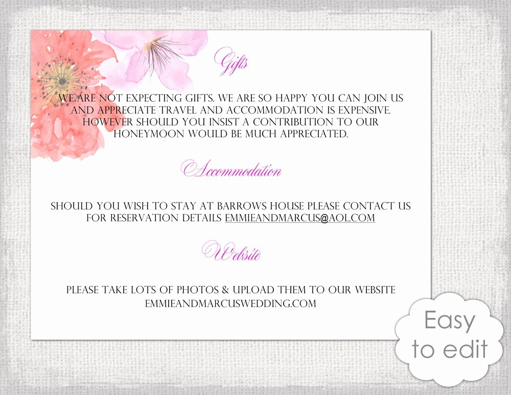 Info Card Template Elegant Wedding Information Card Template Diy Printable Flower