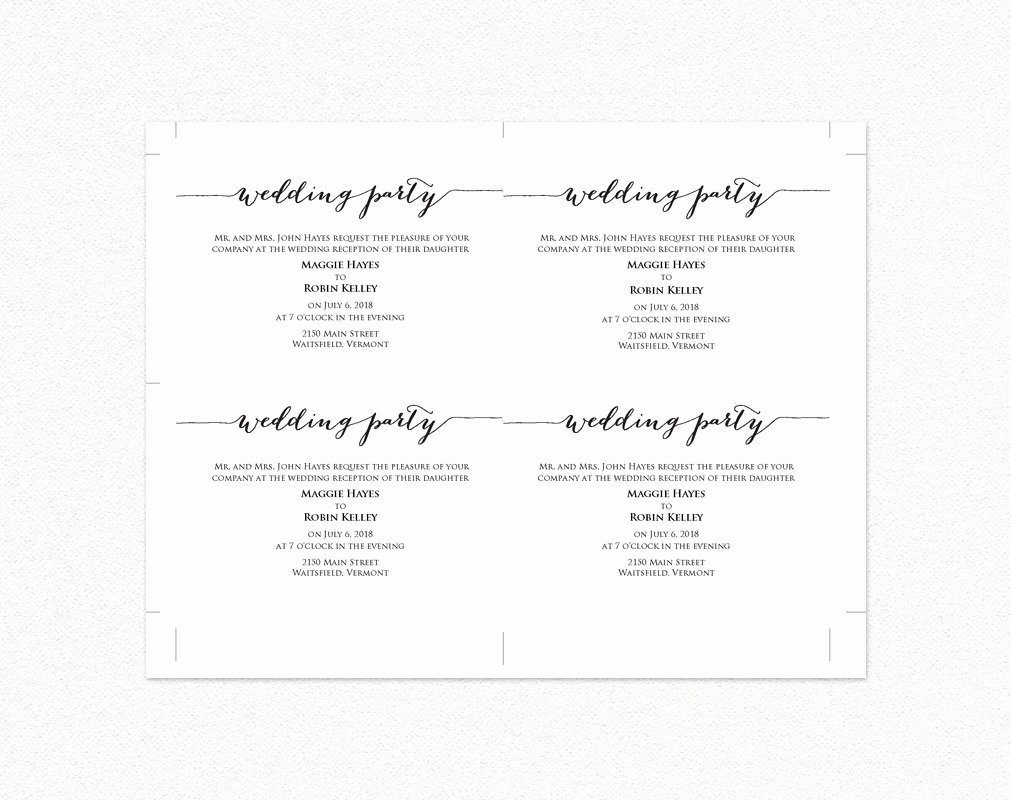 Info Card Template Elegant Wedding Party Invitation · Wedding Templates and Printables