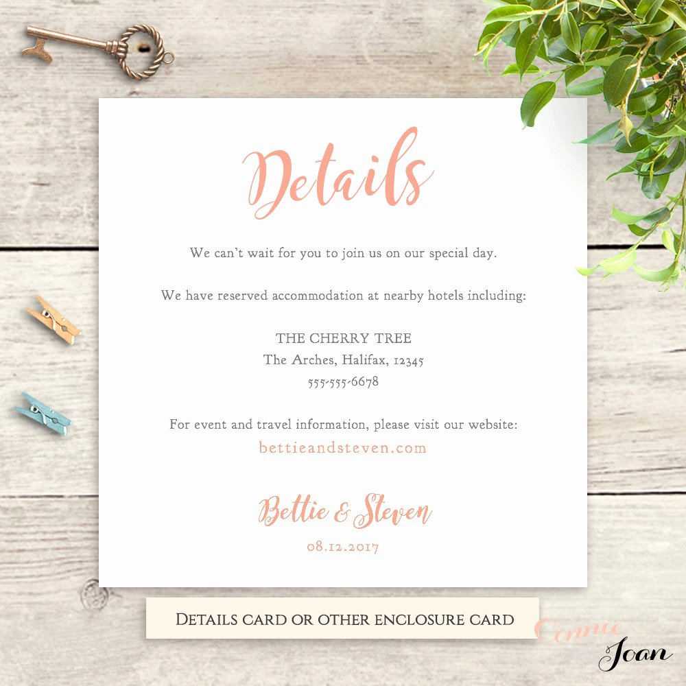 Info Card Template Inspirational Wedding Details Information Card Template Printable