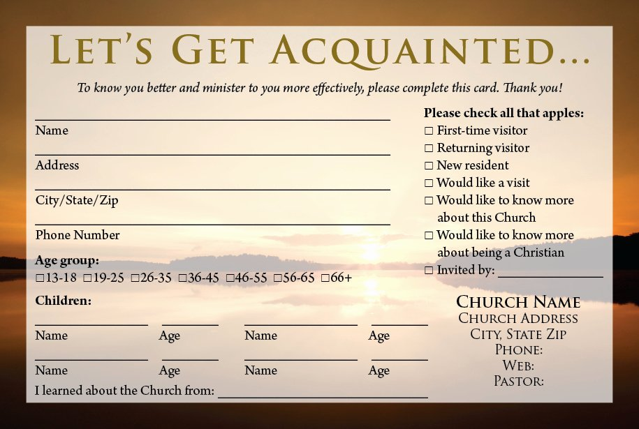 Info Card Template Lovely Church Visitor Information Card Template
