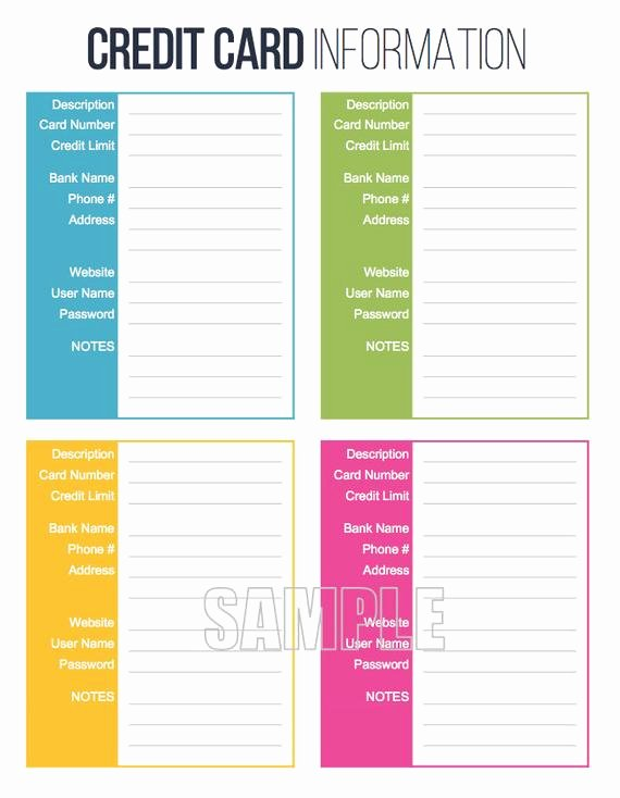 Info Card Template New Credit Card Information Printable Editable Personal