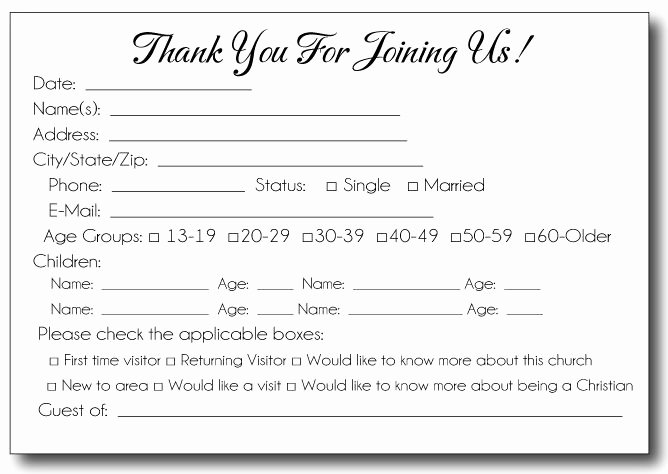 Information Card Template Beautiful Church Visitor Information Card Template