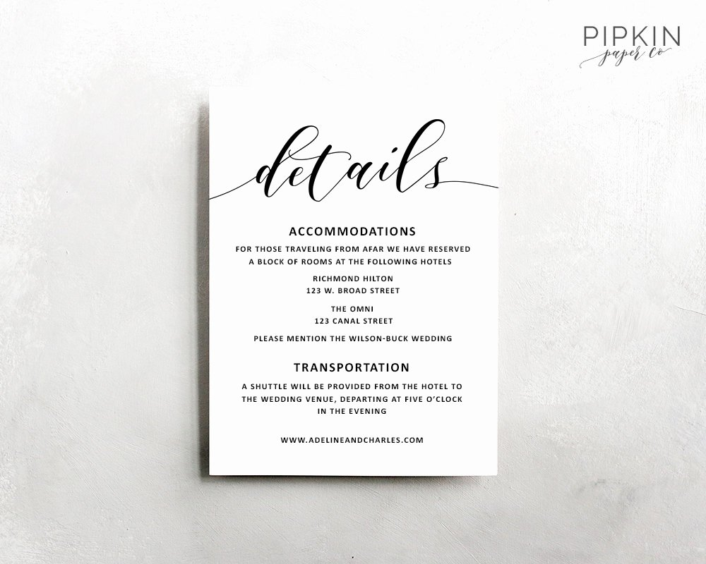 Information Card Template Best Of Wedding Details Template Wedding Information Card Rustic