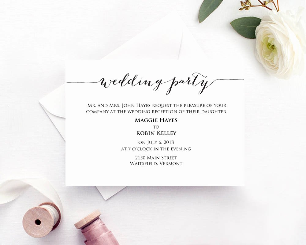 Information Card Template Elegant Wedding Party Invitation · Wedding Templates and Printables