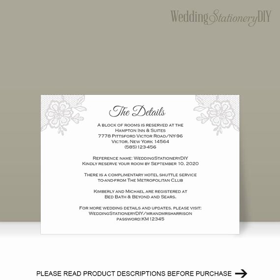 Information Card Template Inspirational Insert Cards Wedding Information Card Reception Card Diy