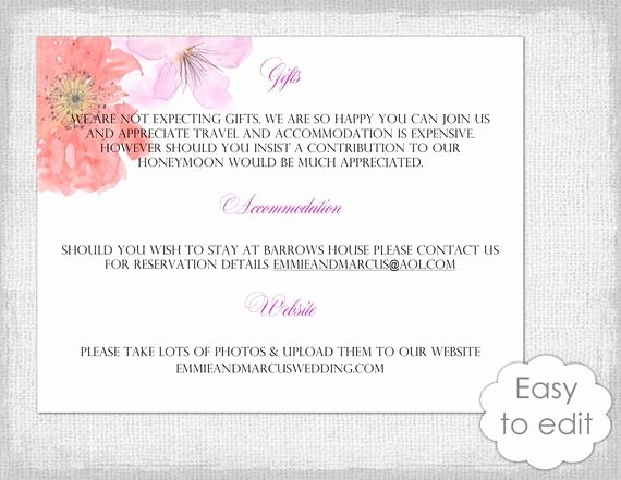 Information Card Template Inspirational Wedding Information Card Template Diy Printable Flower