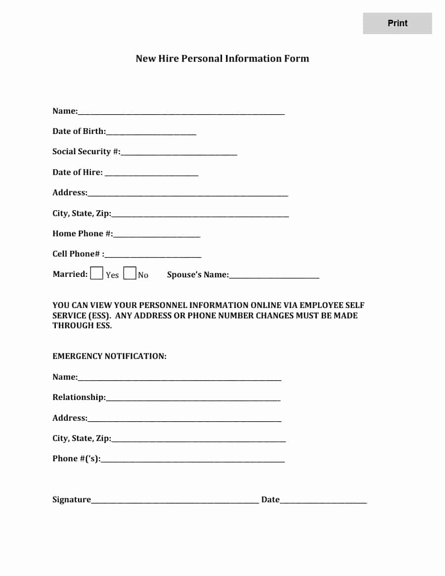 Information form Template Inspirational 47 Printable Employee Information forms Personnel