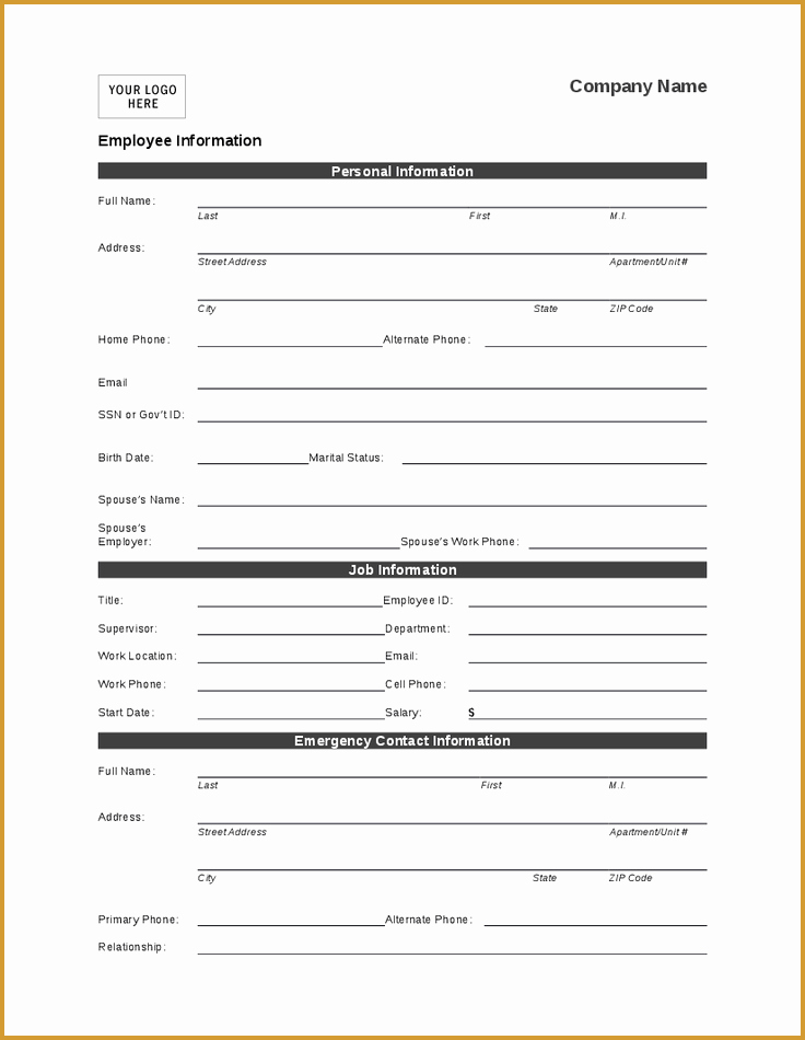 Information form Template Lovely Employee Personal Information form Template