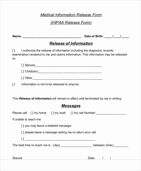 Information form Template Luxury Sample Medical Information Release form 7 Examples In