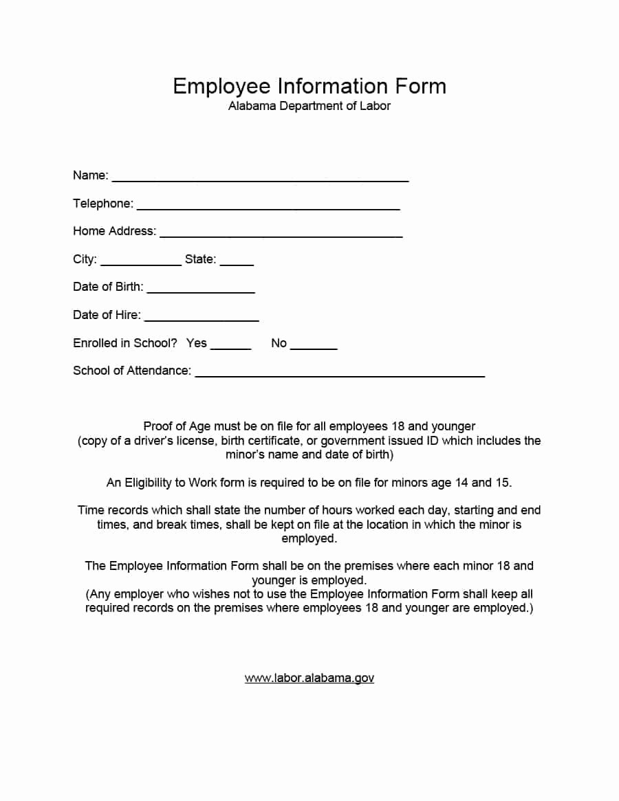 Information form Template Unique 47 Printable Employee Information forms Personnel