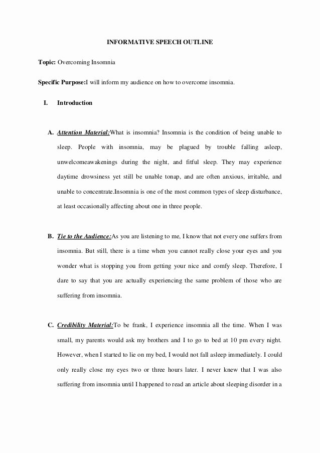Informative Research Paper Outline Best Of Informative Speech Outline Over E Insomnia