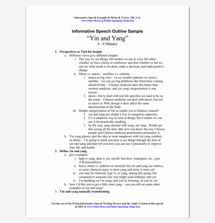 Informative Research Paper Outline Fresh Informative Speech Outline Example
