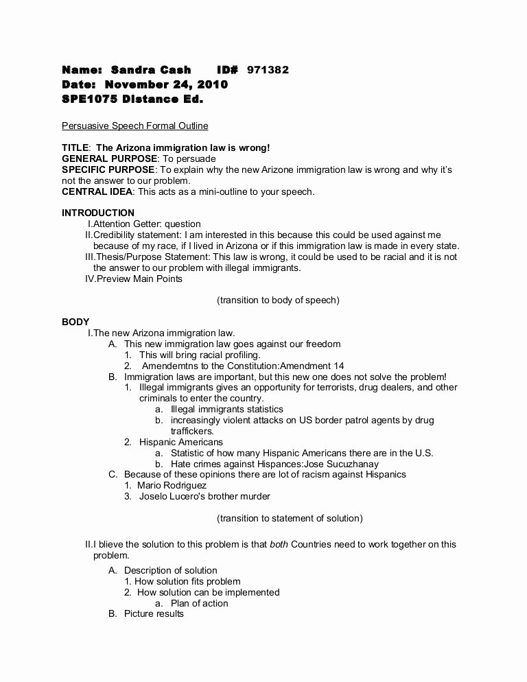 Informative Research Paper Outline Inspirational Persuasive Speech formal Outline