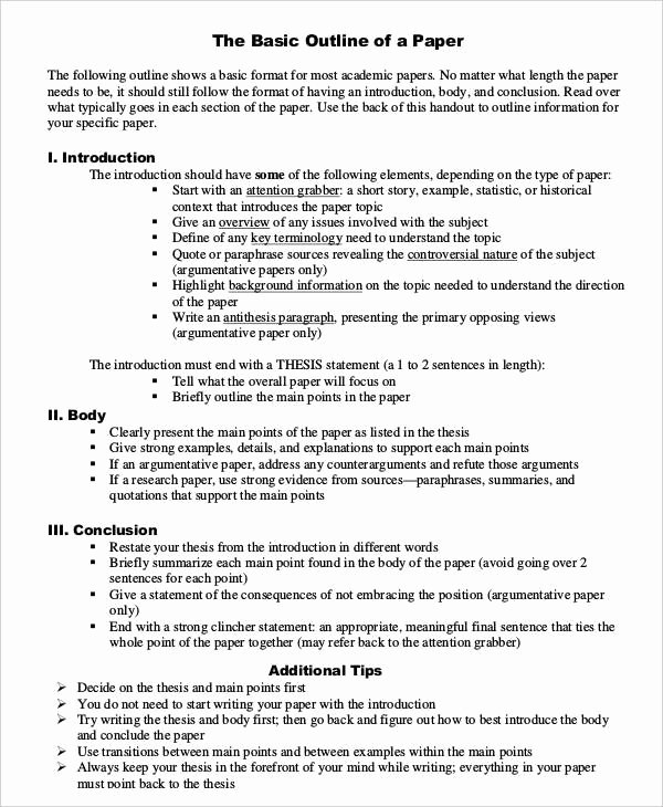 Informative Research Paper Outline Luxury Basic Research Paper Outline Template