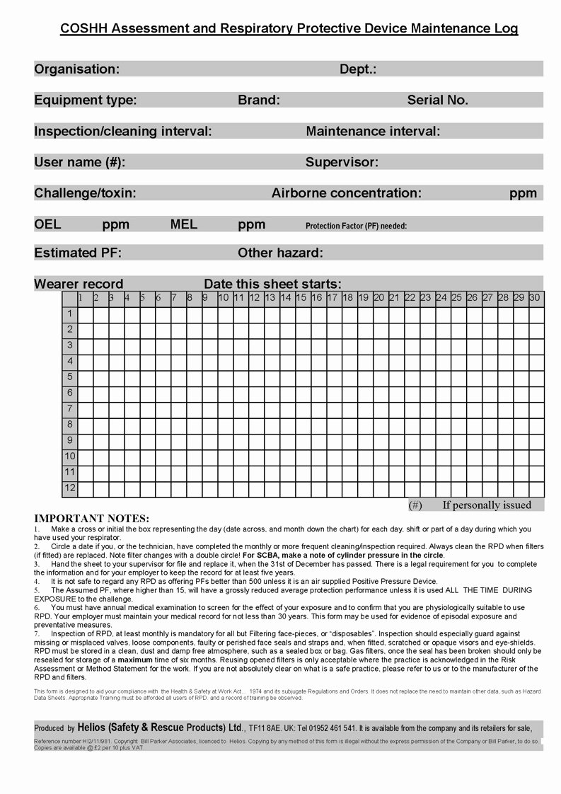 Inspection Log Sheet Best Of Respiratory Protection Rpd Inspection and Record Sheet