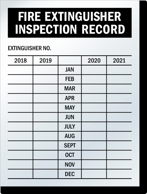 Inspection Log Sheet Lovely 4 5 Year Record Fire Extinguisher Tags