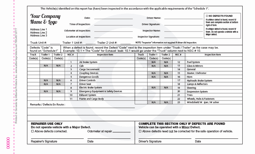 Inspection Log Sheet Unique Alberta Motor Vehicle Inspection form Impremedia