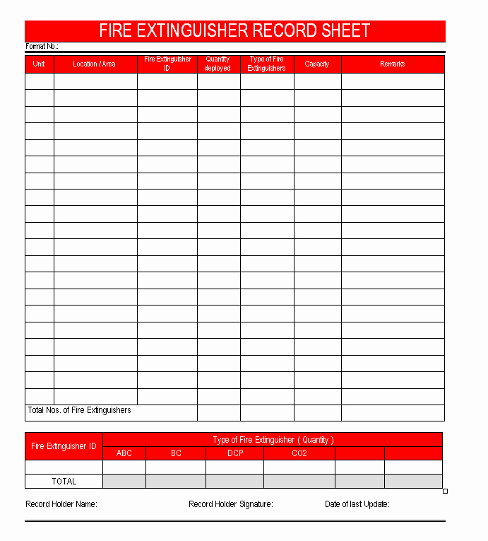 Inspection Log Template Luxury Fire Extinguisher Record Sheet