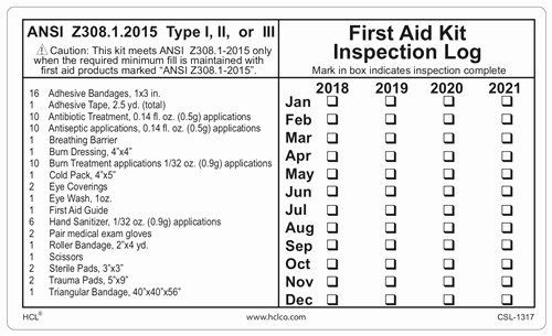 Inspection Log Template Luxury First Aid Kit Inspection Log Class A Write In Label