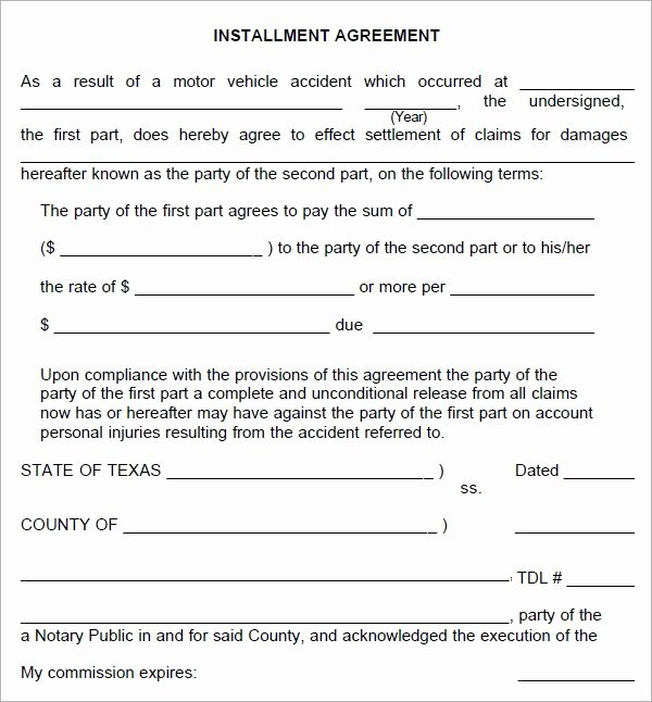 Installment Payment Plan Agreement Template Best Of Installment Agreement 5 Free Pdf Download