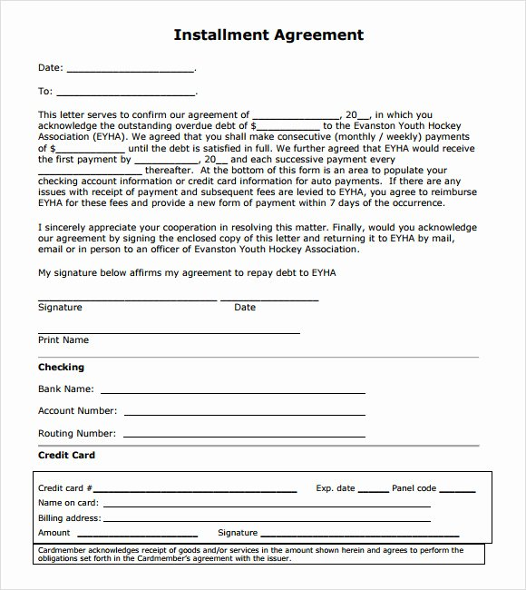 Installment Payment Plan Agreement Template Inspirational Installment Agreement – 7 Free Samples Examples format