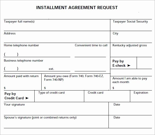 Installment Payment Plan Agreement Template Lovely Installment Agreement 7 Free Pdf Download