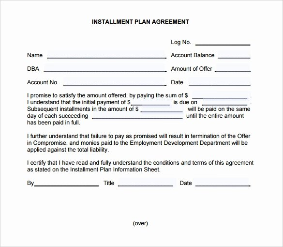 Installment Payment Plan Agreement Template New Payment Plan Contract Template Free Download