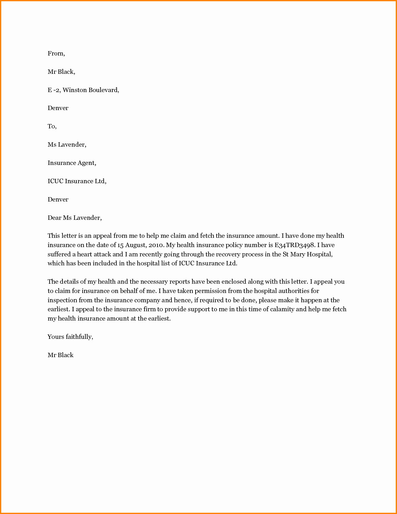 Insurance Denial Letter Template Best Of 5 Medical Claim Appeal Letter Sample