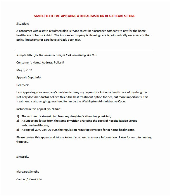 Insurance Denial Letter Template Lovely 17 Appeal Letter Templates Free Sample Example format