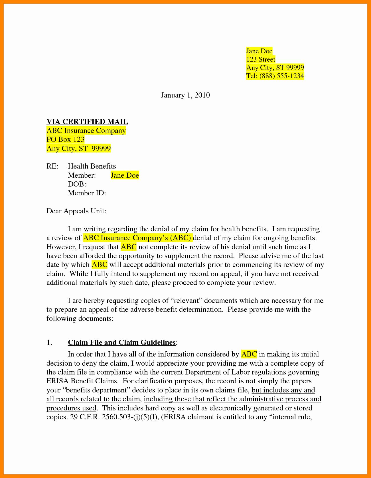 Insurance Denial Letter Template Luxury 7 Insurance Appeal Letter Sample