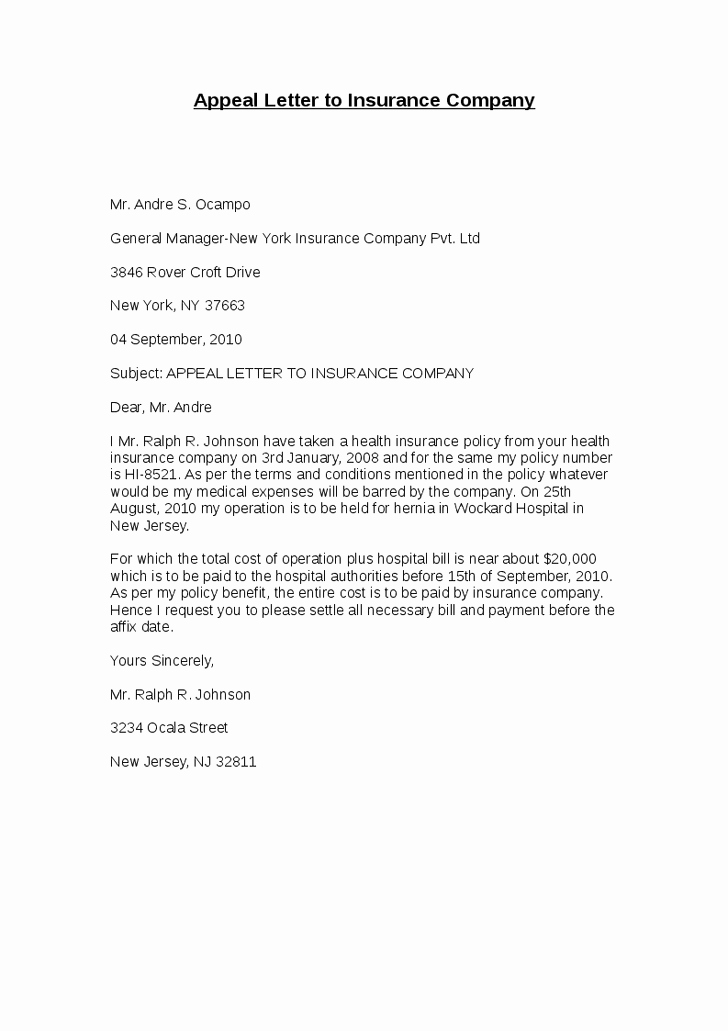 Insurance Denial Letter Template New Best S Of Professional Medical Appeal Letters