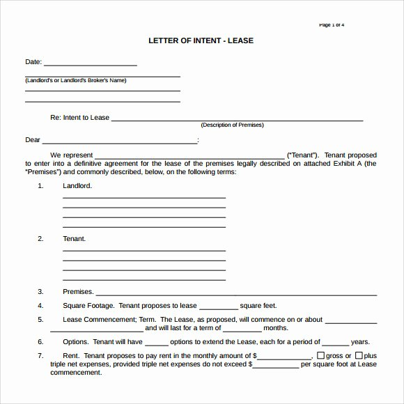 Intent to Rent Letter Awesome 10 Letter Of Intent Real Estate Templates to Download
