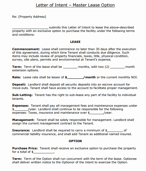 Intent to Rent Letter Beautiful 4 Letter Of Intent to Lease Templates Word Excel Templates