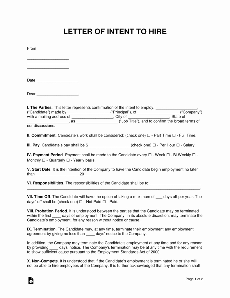 Intent to Rent Letter Unique Free Intent to Hire Letter Of Intent Template Pdf
