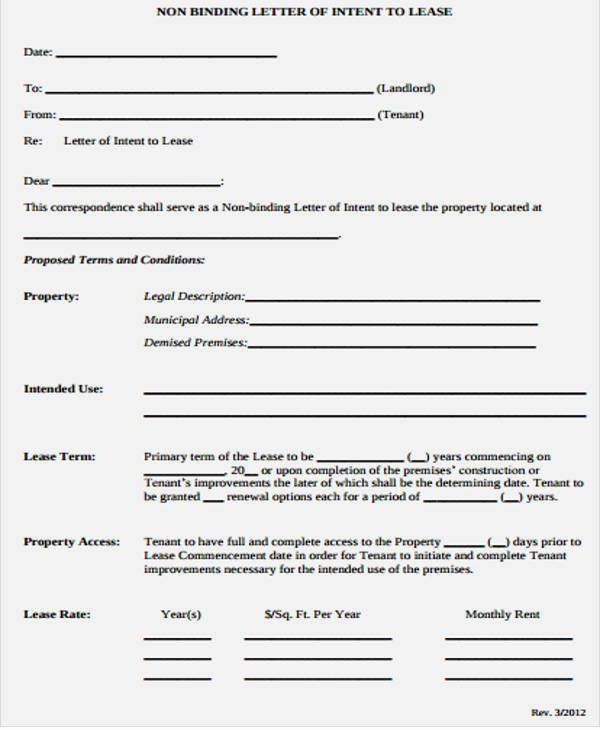 Intent to Rent Letter Unique Lease Letter Templates 8 Free Sample Example format