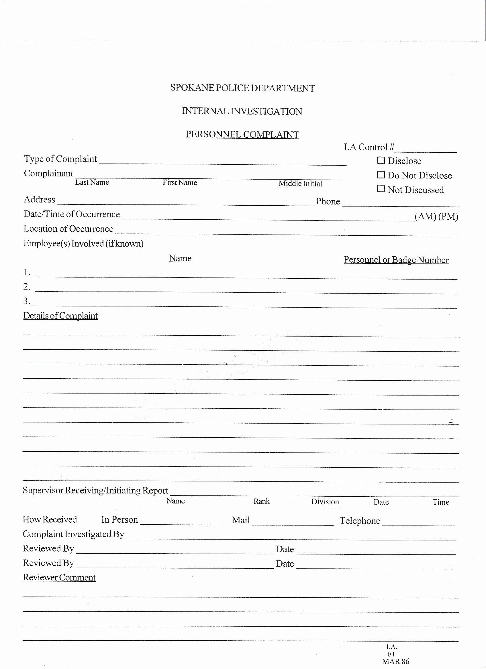 Internal Application form Awesome Spokane Police Plaint forms Spokane Police Abuses