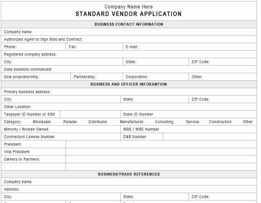 Internal Application form Awesome Vendor Application Template Vendors