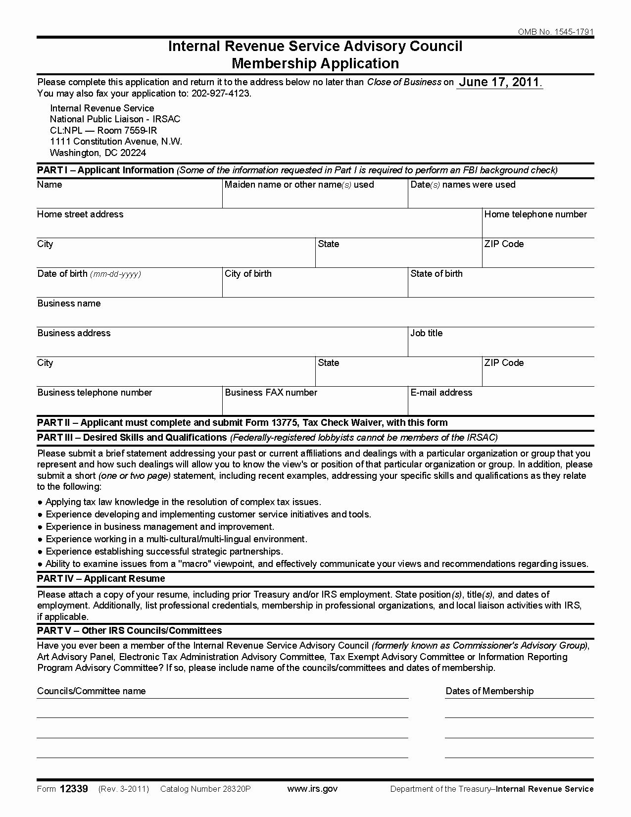 Internal Application form Elegant form Internal Revenue Service Advisory Council