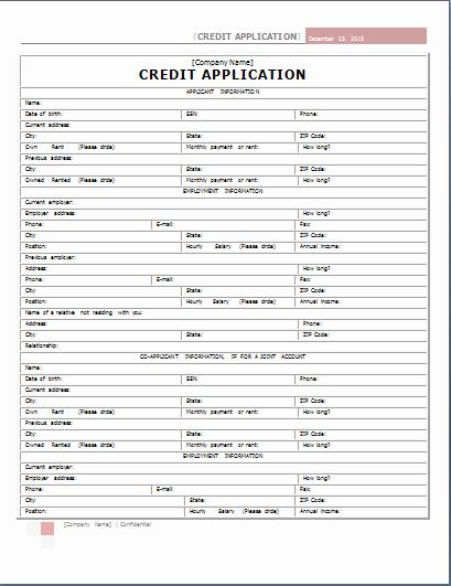 Internal Application form Inspirational Word Internal Credit Application form Template