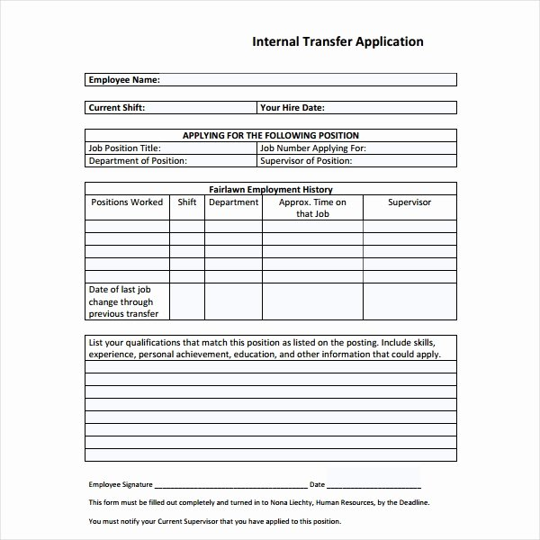 Internal Application form Unique 4 Internal Application form Templates Pdf