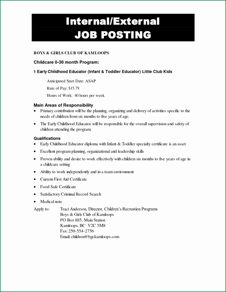 Internal Job Posting Template Unique 9 Notice Of Job Opening forms