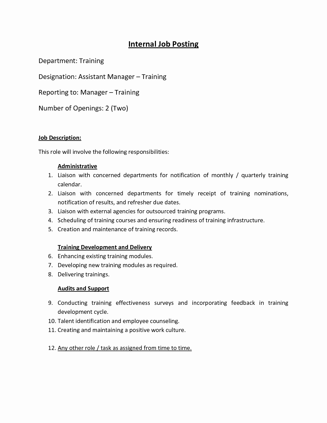 Internal Job Posting Template Unique Best S Of Sample Internal Job Posting Template