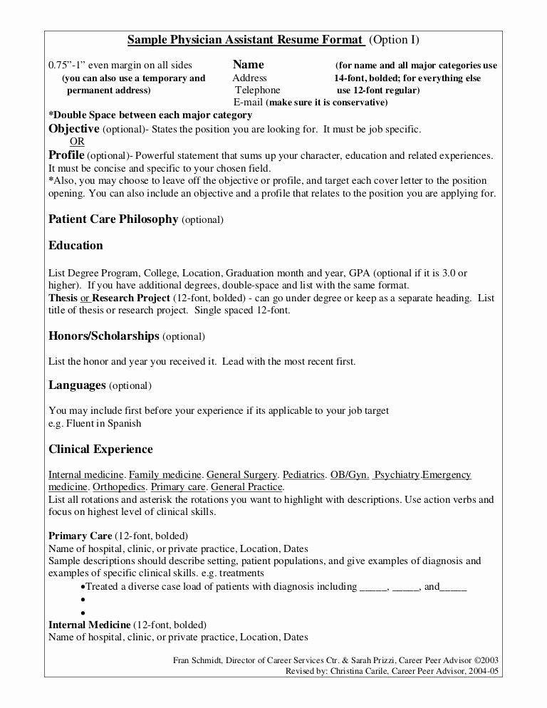 Internal Medicine Progress Note Template Elegant Sample Physician assistant Resume format Option I