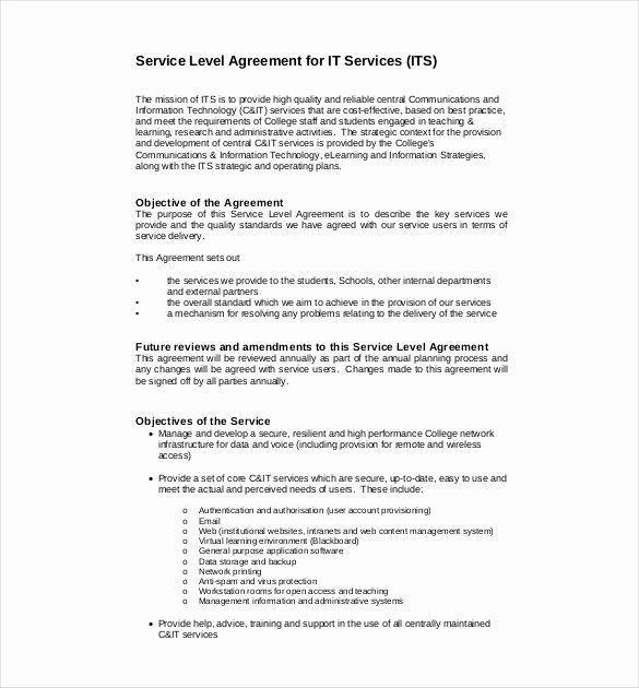 Internal Service Level Agreement Template Best Of 36 Service Agreement Templates Word Pdf