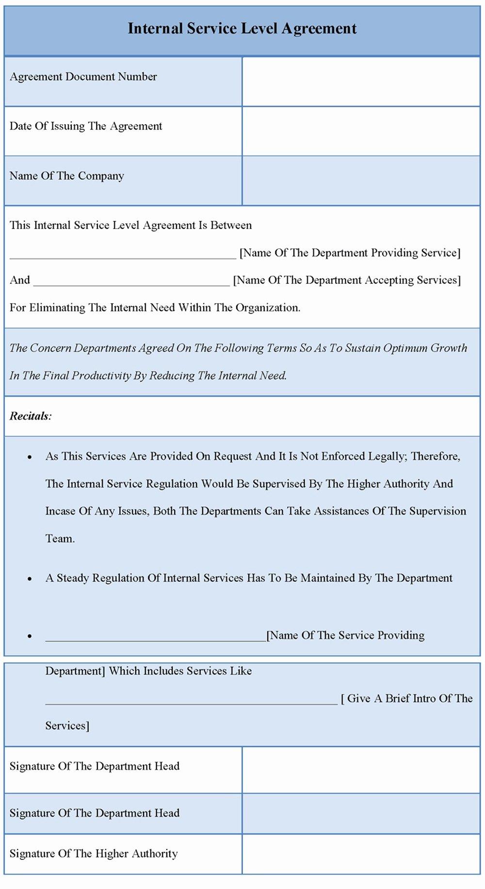 Internal Service Level Agreement Template Best Of 41 Clean Service Level Agreement Sample Io U
