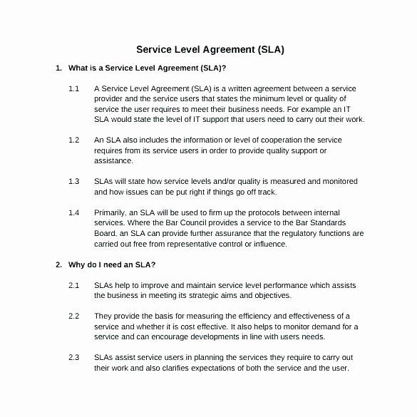 Internal Service Level Agreement Template Best Of Internal Service Quality Example 50 Quality Customer