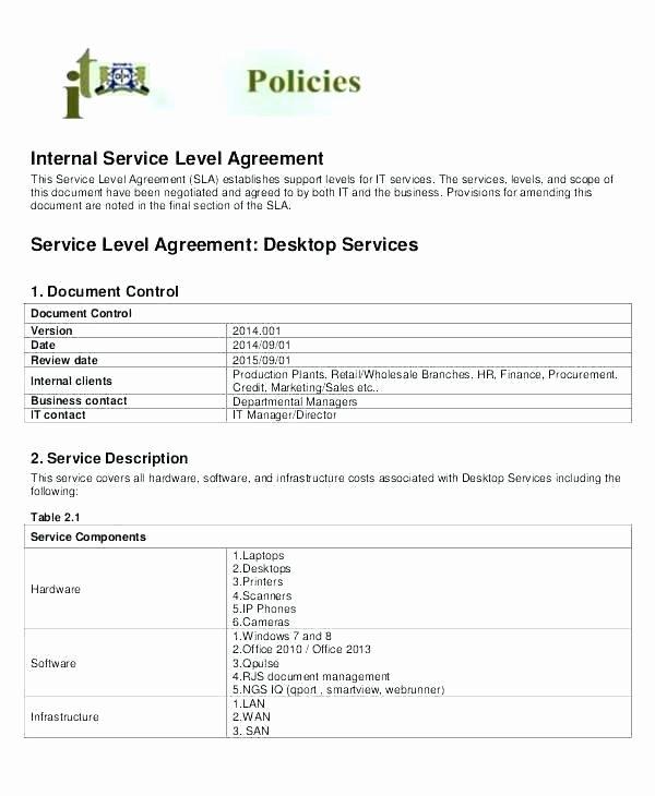 Internal Service Level Agreement Template Fresh Hr Agreements